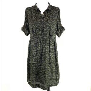 Burberry Brit Print Sheath shirt Dress Tab Sleeve